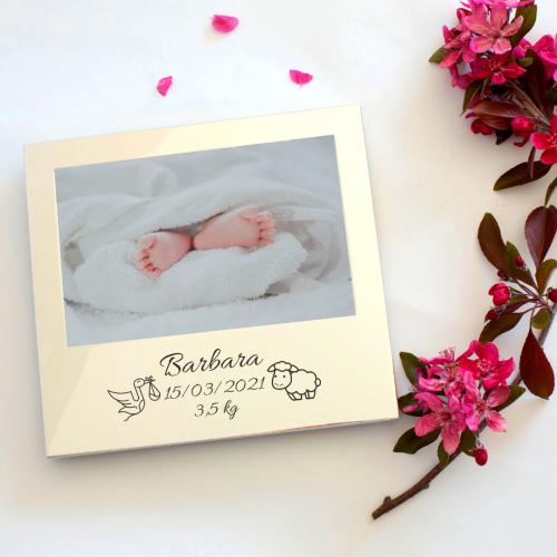 Cornice nascita o battesimo incisa
