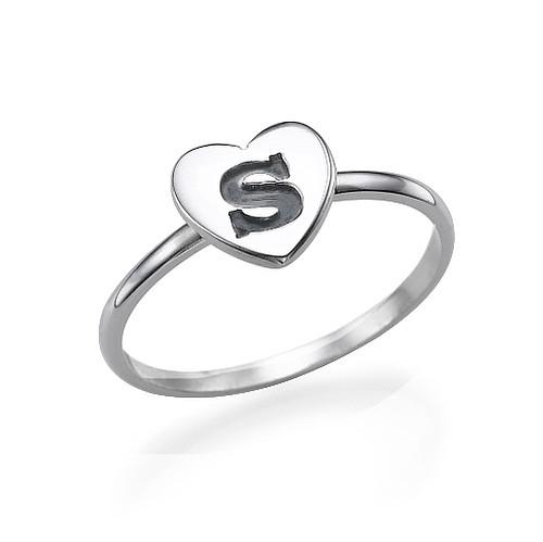 Anello iniziale cuore argento massiccio