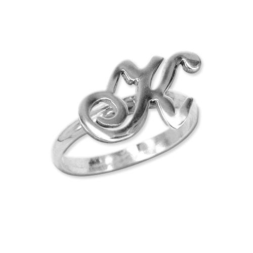 Anello con iniziale argento