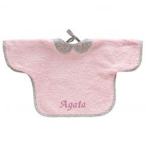 Bavaglino con maniche rosa personalizzato