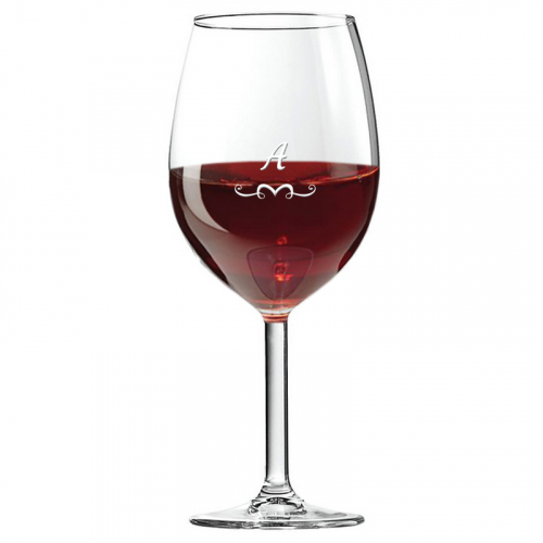 Bicchiere da vino con iniziale