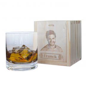 Bicchiere whisky con nome inciso e cofanetto foto