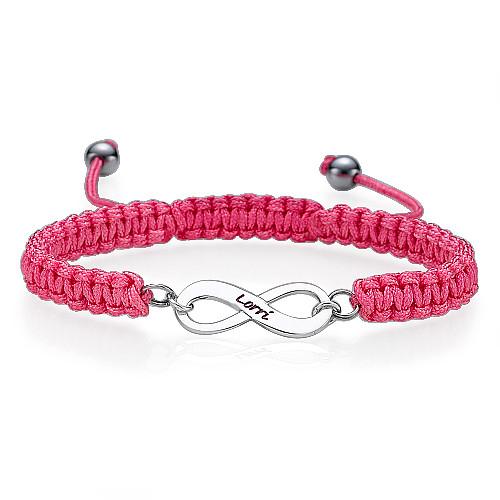 Braccialetto infinito inciso rosa