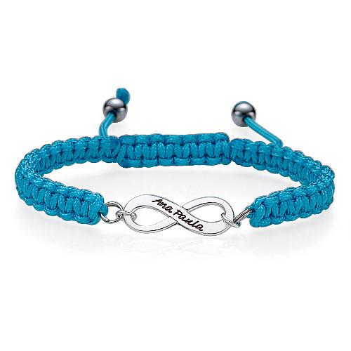 Braccialetto infinito personalizzato azzurro