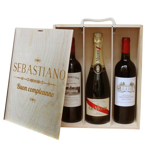 Cassetta vino 3 bottiglie personalizzata con nome