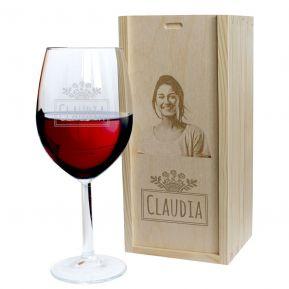 Calice da vino con nome inciso e cofanetto con foto