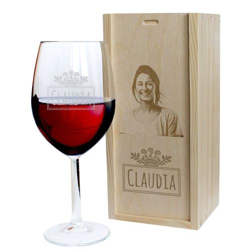 Calice da vino con foto incisa