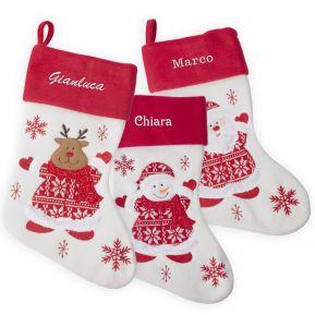 Calza natalizia in feltro e maglia personalizzata