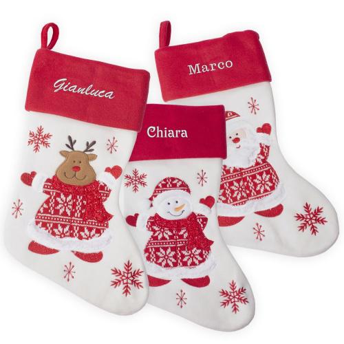 Calza natalizia con inserti in maglia personalizzata