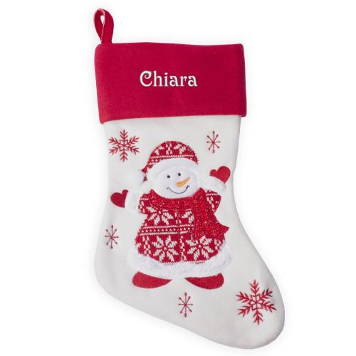 Calza natalizia con inserti in maglia personalizzata con nome