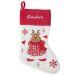 Calza natalizia con inserti in maglia personalizzata con nome renna