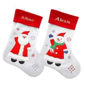 Calza Natale bianca ricamata