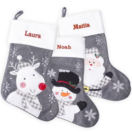Calza natalizia spessa grigia
