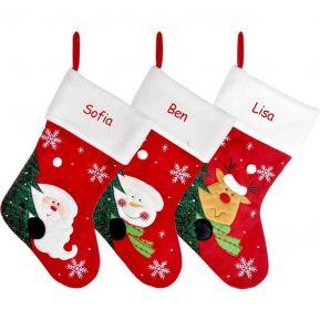 Calza natalizia feltro rosso con personalizzazione