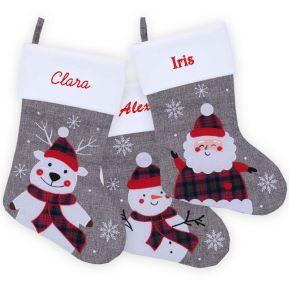 Calza natalizia grigia personalizzata con nome ricamato