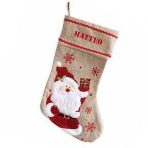 Calza natalizia in lino personalizzata
