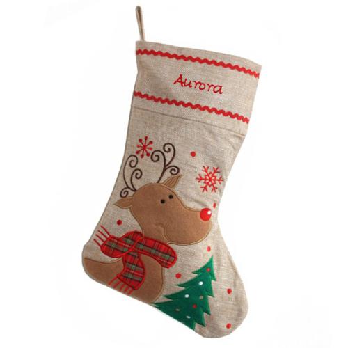 Calza natalizia lino renna