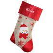 Calza di Natale lino e raso personalizzata