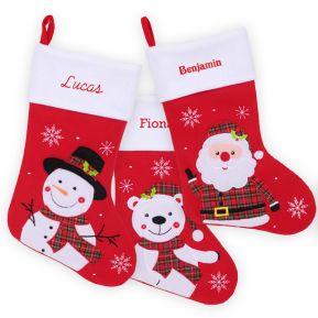 Calza natalizia rossa personalizzata con nome ricamato