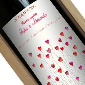 Bottiglia di vino personalizzata campo di cuori
