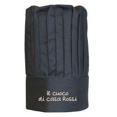 Cappello da cuoco alto nero personalizzato
