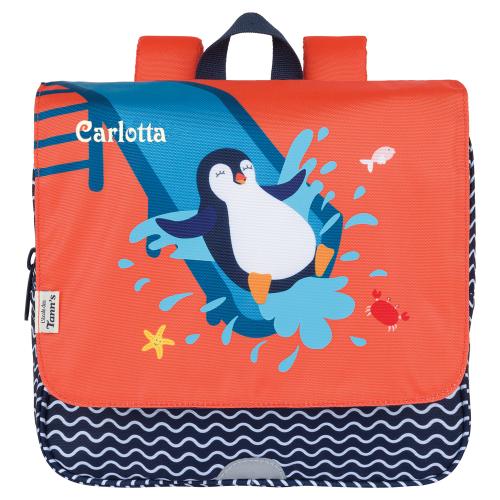 cartella scuola bambini decorazione pinguino e nome
