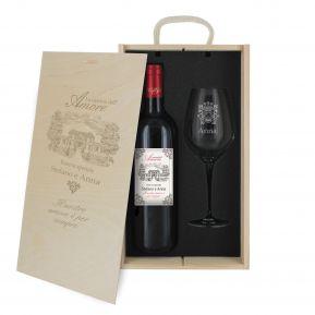 Cofanetto vino e bicchiere Amore
