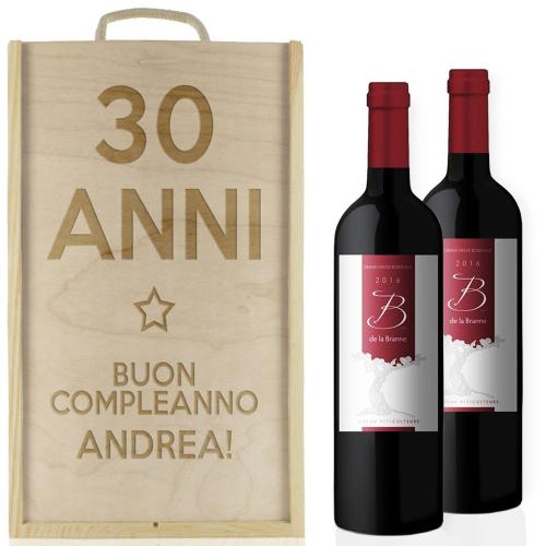 Cassa vino 2 bottiglie compleanno