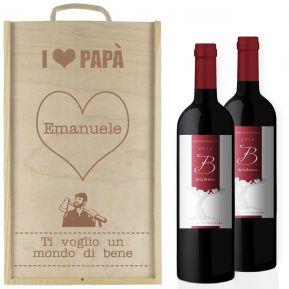 Cassetta vino 2 bottiglie papà personalizzata