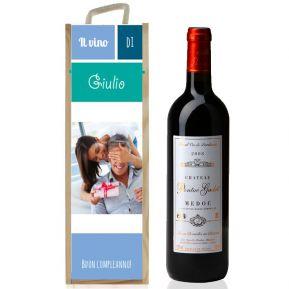 Cassetta per vino personalizzabile con foto