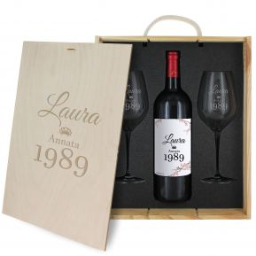 Cofanetto vino e bicchieri compleanno