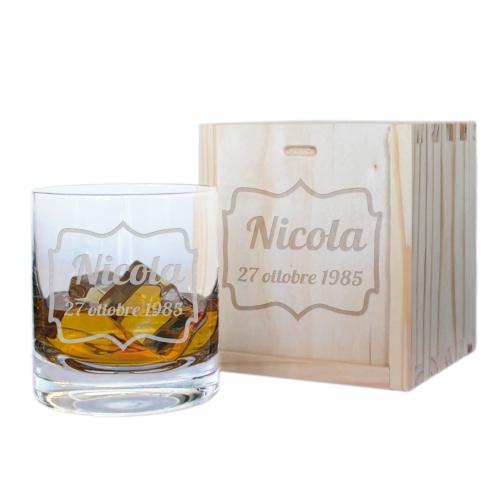 Bicchiere da whisky compleanno inciso