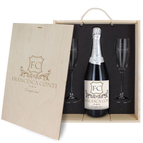 Cofanetto Champagne e bicchieri personalizzato iniziali