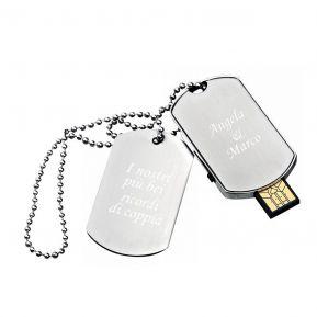 Chiavetta USB 16GB piastrina militare personalizzata con testo inciso