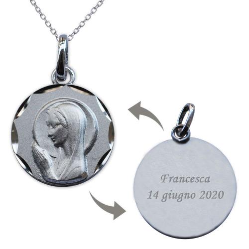 Ciondolo Vergine Maria prega per noi in argento