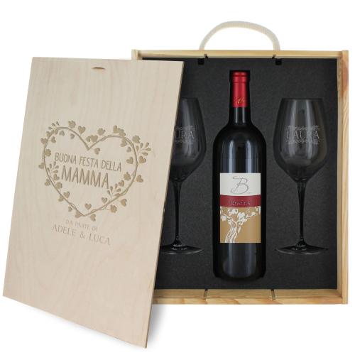 Cofanetto vino festa della mamma con bicchieri