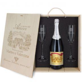 Cofanetto Champagne e bicchieri personalizzato Amore
