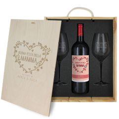 Cofanetto vino e bicchieri mamma