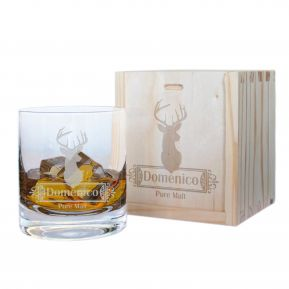 Bicchiere da whisky inciso cervo