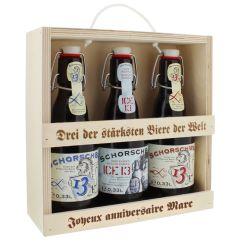 Tris di birre con supporto personalizzato