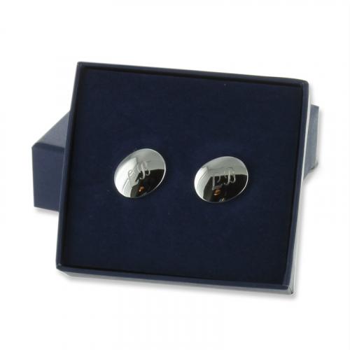 Confezione gemelli ovali argento placcato