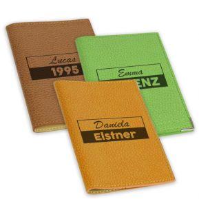 Portapassaporto in pelle personalizzato su 2 righe