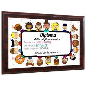 Diploma migliore maestra con supporto in legno