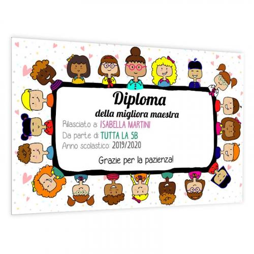 Diploma personalizzato maestra