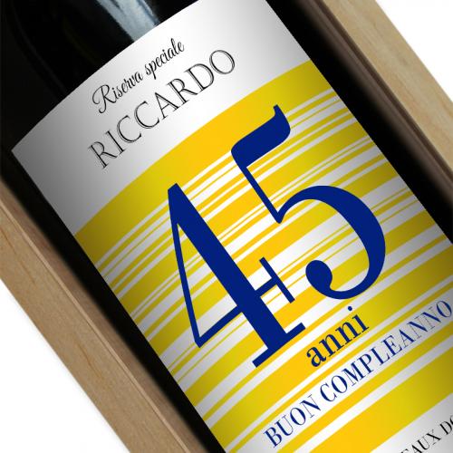 Bottiglia vino personalizzato gialla