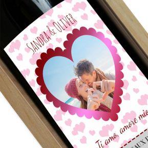 Vino con etichetta foto personalizzata cuore