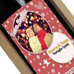 Vino con etichetta di Natale personalizzata con foto