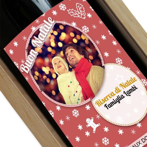 Vino con etichetta foto personalizzata Natale