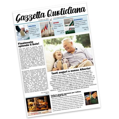 Finta prima pagina giornale di attualità