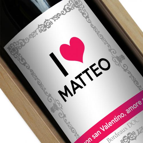 Bottiglia vino personalizzata I love